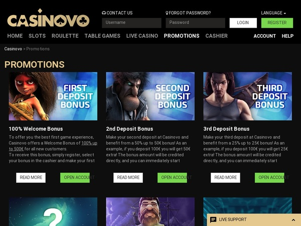Casinovo Promotions Live Streaming