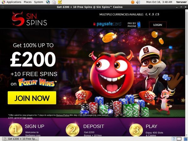 Free Sin Spins Code