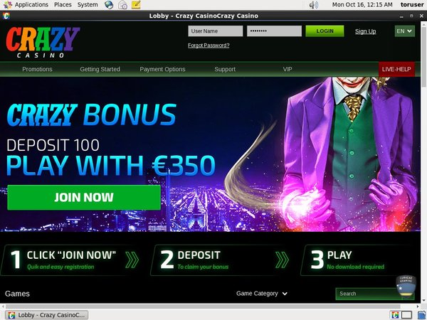 Crazy Casino Joining Promo Code