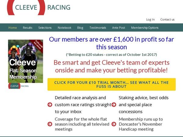 Cleeve Racing Welkomstbonus